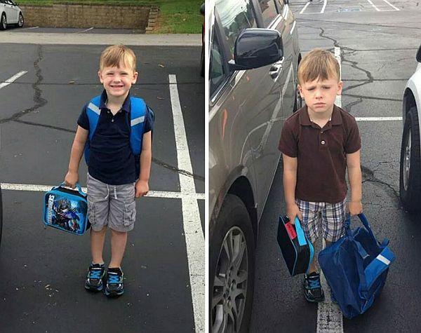 Αστείες φωτογραφίες: Παιδιά πριν και μετά την πρώτη μέρα στο σχολείο! | imommy.gr